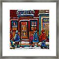 Joe Beef Restaurant And Boys With Hockey Sticks Framed Print