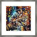 John Lee Hooker - Palette Knife Oil Painting On Canvas By Leonid Afremov Framed Print