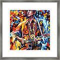 Johnny Cash - Palette Knife Oil Painting On Canvas By Leonid Afremov Framed Print