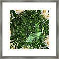 Jonquil Kaleidoscope Under Polyhedron Glass Framed Print