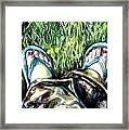 Khaki Pants And Flip Flops Framed Print