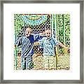 Kids And The Train Framed Print