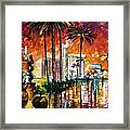 Las Vegas - Palette Knife Oil Painting On Canvas By Leonid Afremov Framed Print