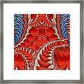 Leaf Pattern In Red Framed Print