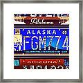 License Plate Framed Print