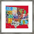 License Plate Map Of The United States On Bright Red Framed Print