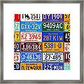 License Plates Of The Usa - Our Colorful American History Framed Print