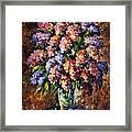 Lilac - Palette Knife Oil Painting On Canvas By Leonid Afremov Framed Print
