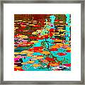 Lily Pads And Koi Colorful Water Garden In Bloom Waterlilies At The Lake Quebec Art Carole Spandau  Framed Print