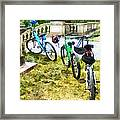 Line Of Bicycles In Park Framed Print