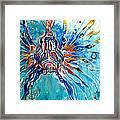 Lion Fish Blue Framed Print