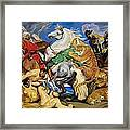 Lions Tigers And Leopard Hunt Homage To Rubens Framed Print