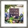 Little Balboa Island Sign In Newport Beach California Framed Print