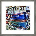 Little Blue Boat Hdr Framed Print