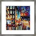 Londons Lights - Palette Knife Oil Painting On Canvas By Leonid Afremov Framed Print