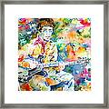 Lou Reed Playing The Guitar - Watercolor Portrait Framed Print