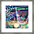 Love And Tokyo Dome With Colorful Psychedelic Heart Lights Framed Print