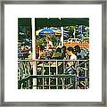 Lunch Party At The La Belle Gueule Brasserie Terrace - Park Your Bike And Enjoy The Sunny Day Framed Print