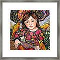 Madeline with flowers and birds Framed Print