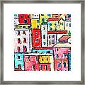 Manarola Colorful Houses Painting Detail Framed Print