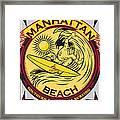 Manhattan Beach California Surfing Framed Print by Larry Butterworth