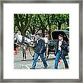 Men And Carriages In A Street Near Saint Sophia's In Istanbul-turkey Framed Print