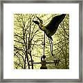 Misty Egret - Gold Framed Print