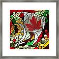Mosaic  Stained Glass - Canadian Maple Leaf Framed Print