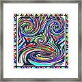 Monkey Dance Created Out Of Beads Of The Border Creative Digital Graphic Work Cartoon Comedy Backgro Framed Print