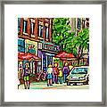 Monkland Tavern Corner Old Orchard Montreal Street Scene Painting Framed Print by Carole Spandau