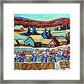 Montreal Memories Rink Hockey In The Country Hockey Our National Pastime Carole Spandau Paintings Framed Print