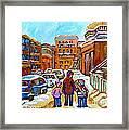Montreal Paintings Winter Walk Past The Old School Snowy Day City Scene Carole Spandau Framed Print