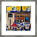 Montreal Pool Room City Scene With Hockey Framed Print