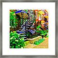 Montreal Staircases Verdun Stairs Duplex Flower Gardens Summer City Scenes Carole Spandau Framed Print
