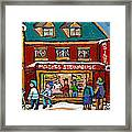 Montreal Winter Hockey At Moishes Framed Print