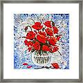 Morning Red Poppies Original Palette Knife Painting Framed Print