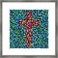 Mosaic Tile Cross Framed Print