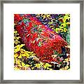 Mossy Log In Red Framed Print