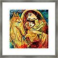 Mother With Child On Horse Framed Print