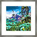 Mountains Hiding Behind Flowers Framed Print