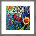 Music On Flowers Framed Print