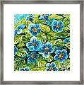 Nature Blue Flowers Original Painting Oil On Canvas Framed Print by Drinka Mercep