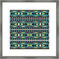 Navajo Teal Pattern Framed Print