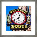Neon Boots Framed Print by Perry Webster