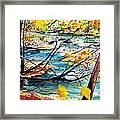 New England Leaves Along The River Framed Print