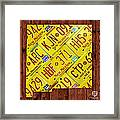 New Mexico State License Plate Map Framed Print