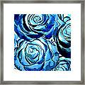 Pop Art Blue Roses Framed Print