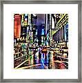 New York Lights In Rain Framed Print