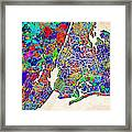 New York Map Abstract 2 Framed Print