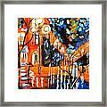 Night Village Rain Framed Print